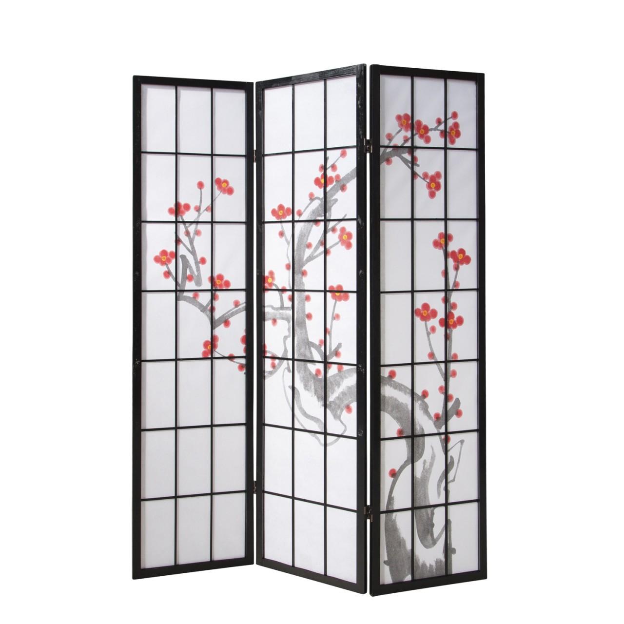 Paravent Sakura 3 schwarz