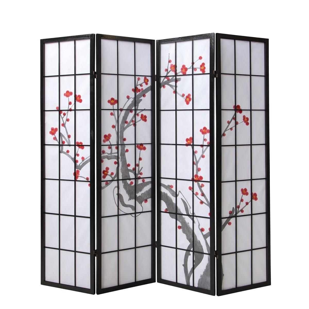 Paravent Sakura 4 schwarz