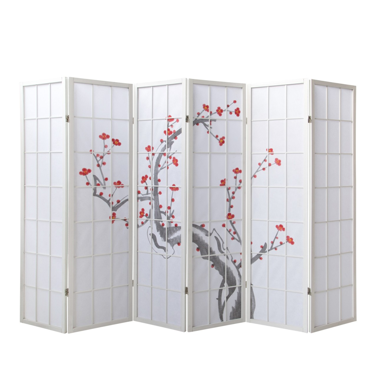 Paravent Sakura 6 weiß