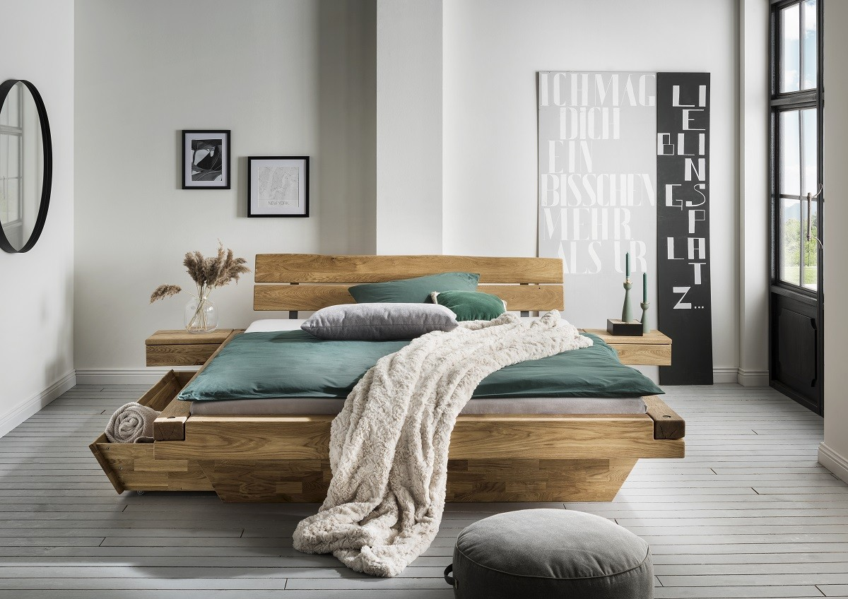 Schwebebalkenbett Norvid mit Schubladen