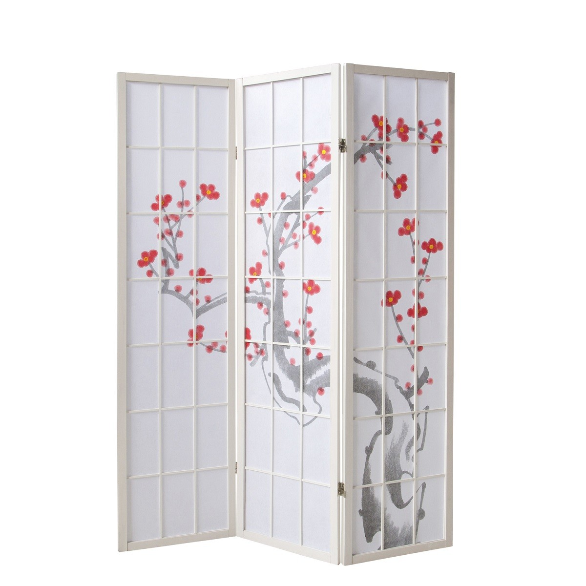 Paravent Sakura 3 weiß
