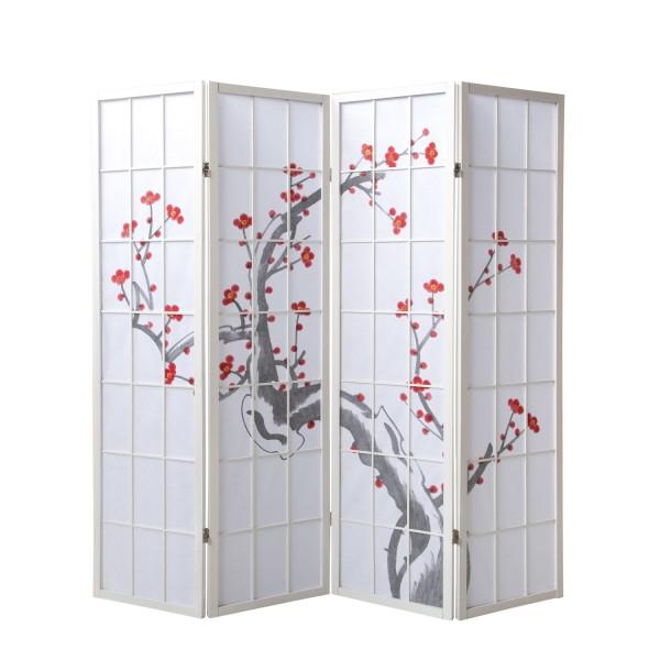 Paravent Sakura 4 weiß