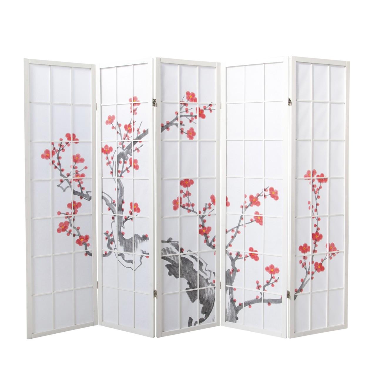 Paravent Sakura 5 weiß